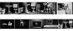 We easy to see a bathroom, in next image it has a bit surprise because the legs too big compare to the room. In the third, the author shows his meaning is all things in first page just toys and not real things. And keep going, the man and the bathroom is a image from book. However, the story is not end at that. We can see one man who reading the book and with a far view, it's a picture. The picture was hung on the wall in bathroom. So, the story started and it ends with the same one picture.