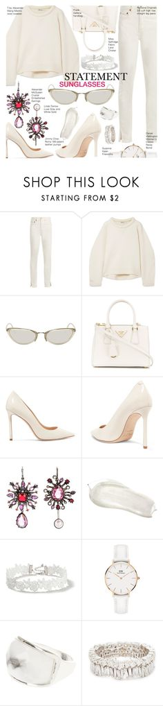 """Natacha"" by nindi-wijaya ❤ liked on Polyvore featuring RE/DONE, T By Alexander Wang, Linda Farrow, Prada, Jimmy Choo, Alexander McQueen, Miss Selfridge, Daniel Wellington, Suzanne Kalan and statementeyewear"