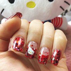 Festive manicure 💅🏻❣️ Created by talented for gal 😍 Hello Kitty Nails, Sanrio, Cute Nails, Manicure, Hair Makeup, Nail Designs, Nail Art, Create, Nail Ideas
