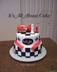 Twilight cake with sugar apple, chess pieces, and parrot tulip