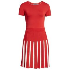 Women's Valentino Bicolor Pleated Minidress ($2,980) ❤ liked on Polyvore featuring dresses, red, valentino dress, cherry red dress, red pleated dress, mini dress and red dresses