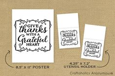 Craftaholics Anonymous® | Thanksgiving - Free Printable Quote + Utensil Holder