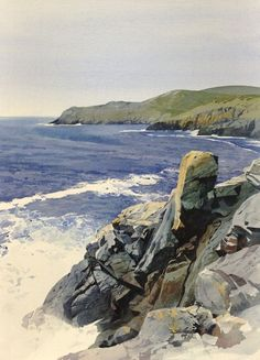 Uwchfynydd from Pen y Cil, an original watercolour painting by Rob Piercy by melba Watercolor Water, Watercolor Landscape Paintings, Watercolor Artists, Seascape Paintings, Watercolour Painting, Landscape Art, Painting & Drawing, Watercolours, Am Meer