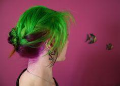My hair. Perfect for Halloween/female Joker!