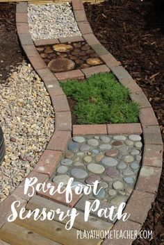 Barefoot sensory path for kids. Fun for outdoor play!