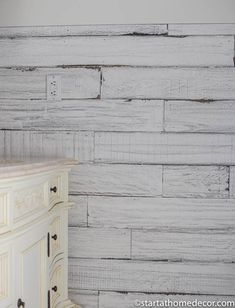 How to Create Weathered Wood with Tea, Coffee, Apple Cider Vinegar and Steel Wool - Start at Home Decor Painted Wood Walls, Wood Panel Walls, Painted Furniture, Diy Furniture, Distressed Wood Wall, Weathered Paint, White Shiplap Wall, White Paneling, Rustic White