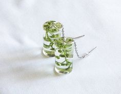 Transparent Glass-Like Clear Dangle Earrings - Cylinder - Made With Real Flower Buds
