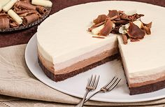 Triple chocolate cheesecake.   Just divide in three parts the cream for the cake and mix every part with a different type of chocolate. Easy and yummy.