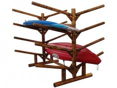 8 Place Kayak- Double Sided!  Rustic and custom handcrafted storage system for kayaks, canoes, and sups.