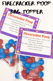 DIY Party Mom: Firecracker Poop Bag Topper Printable Christmas Printables, Party Printables, Free Printables, I Am Store, Blue Candy, Patriotic Party, Firecracker, Diy Party, Craft Stores