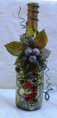 Light Green Wine Bottle Light embellished with Glass Gems, Leaves, and Berries