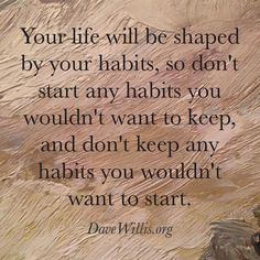 your life will be shaped by your habits quote Dave Willis manifestmastermind.com