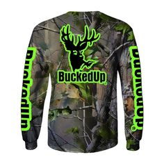 LONG SLEEVE REALTREE APG CAMO WITH GREEN LOGO Available at BuckedUpApparel.com  #buybuckedup #getbuckedup stay #buckedup #hunting #realtree #camo #camouflage