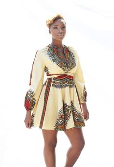Robe Manches longues col rond imprimé motif africain v