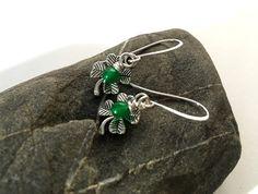 Shamrock & wire-wrapped jade handcrafted earrings+ https://www.etsy.com/listing/268488518/shamrock-green-jade-earrings-irish #etsymntt #jewelry #mothersday