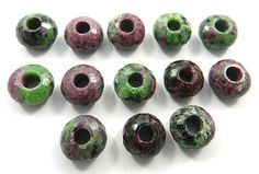 5 PCS!Shining Gems Natural Ruby Zoisite Fine Faceted Big Hole Gemstone Beads