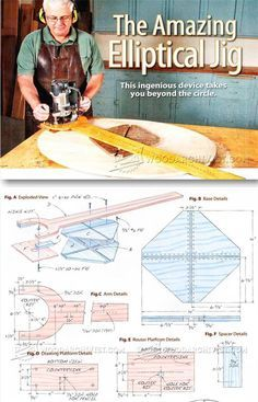 Elliptical Router Jig - Router Tips, Jigs and Fixtures - Woodwork, Woodworking, Woodworking Tips, Woodworking Techniques Router Tool, Router Woodworking, Woodworking Techniques, Woodworking Projects Diy, Woodworking Tools, Router Accessories, Wood Jig, Diy Shops, Homemade Tools