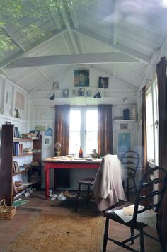 studio, dylan thomas, wooden boats, writing, high ceilings