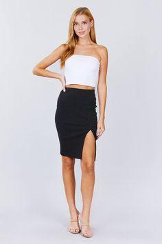 Front Slit Bengaline Dot Midi Skirt | KjSelections Black Midi Skirt, Cut And Style, Black Fabric, Bra Tops, Dress Making, Latest Trends, Short Dresses, Cami, Spandex