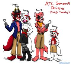 ATC Concept Designs (Foxys Family) by CAcartoon on DeviantArt Character Questions, Baby Lyrics, Foxy And Mangle, Mundo Dos Games, Anime Fnaf, Anime Art, Freddy 's, Fnaf Characters, Fnaf Drawings