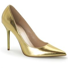 Shoes Gold Pointed Toe court shoes in gold patent with chic pointed toe which thin the foot and front flat sole which contrasts the extra-thin 4 inch cm) stiletto high heels in matching gold colour. Court Shoes, Pump Shoes, Shoes Heels, Women's Shoes, High Heels Stilettos, Stiletto Heels, Sexy Heels, T Strap Pumps, Metallic High Heels
