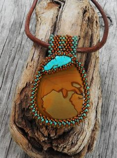 Beaded Cabochon Necklace - Circle of Dreams - Bead Weaving - Statement Necklace - Picture Jasper Cabochon Turquoise Cabochon - Leather Rope by CheriCMeyer on Etsy