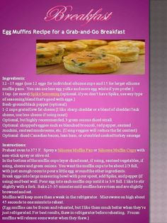 Egg muffins by Anina Den Heyer Banting Breakfast, Grab And Go Breakfast, Banting Recipes, Snack Recipes, Snacks, Egg Muffins, Low Carb Keto, Good Food, Stuffed Peppers