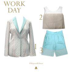 """¡Esta semana celebramos a todas las #MujeresBellmur con nuestros elegidos para ellas!  Look """"Work Day""""  1. Chaqueta de Broderie // BZBELL02  2. Musculosa de Broderie // TSMBELL05   3. Bermuda Gasa // SPBELL 29"""