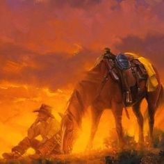 Cowboy and his horse....