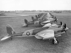 The de Havilland Mosquito was a twin engined aircraft used in World War Two that performed multiple roles as a fighter aircraft and a fighter bomber. Ww2 Aircraft, Fighter Aircraft, Military Aircraft, Fighter Jets, Navy Aircraft, De Havilland Mosquito, Photo Avion, Ww2 Planes, Vintage Airplanes