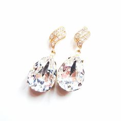 SALE was 34.99 Crystal Swarovski Crystal Swarovski Crystal Estate Earrings with 925 Sterling Silver Plated Flame Wave Earring Posts with CZ Stones by ParisOhLaLa, $29.99