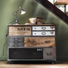 Metal drawer chest on castors W 120cm