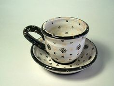 Cup and saucer set espresso set daisy dots pottery by Majoleeka