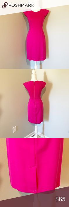 KATE SPADE hot pink dress NWOT Gorgeous!!!!! In PERFECT condition! Never worn!!! Brand new ! I did however nearly  sew the bottom slit in back of dress together (as seen in picture)  . I wanted it closed because I felt that it went up to high and preferred not show off all my goods, 😝😂 it can easily be undone tho if you want to take it out . never ended up wearing it though ! Stretchy material . Size two . 36 inches long -- measured from shoulder to bottom of dress. kate spade Dresses Mini