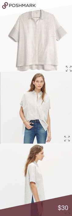 Madewell gridmix short sleeve Courier shirt Reposh! Sadly the cut isn't flattering. Only worn once by original owner and tried on by me. Easy and oversize, with a graphic mix of stripes with a grid print. Slightly longer in the back. Madewell Tops Button Down Shirts