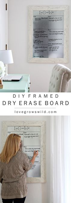 organized with this DIY Framed Dry Erase Board! Get the full tutorial at Get organized with this DIY Framed Dry Erase Board! Get the full tutorial at Diy Whiteboard, Metal Board, Magnetic White Board, Framed Magnetic Board, Magnetic Paint, Dry Erase Calendar, Dry Erase Board, Dry Erase Paint, Dry Erase Wall
