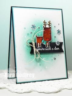 This is one of a set of four cards made with the Freshly Made Sketches Challenge # 214. I used Reverse Confetti Jolly Holiday Stamp set and the Jolly Holiday Confetti Cuts. I coloured the image with Zig Clean Color Real Brush Markers. I also used the Reverse Confetti Tag Me Confetti Cuts. The background is inked with Tim Holtz Distress Ink in Tumbled Glass and Evergreen Bough. photo FMS214_edited-RS1_zpsgreaiefg.jpg