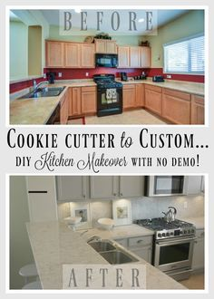 DIY kitchen renovation of a builder's special, cookie cutter kitchen (with cheap everthing) to a custom beauty with serene Nordic French style and quartz countertops. (Viatera - Soprano)