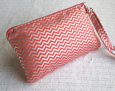Tag Along Wristlet Clutch in Coral and Metallic Silver by ShannyAnn