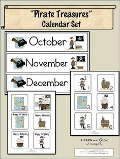 Pirate Treasures Printable Calendar Set by LearnandGrow on Etsy, $2.00