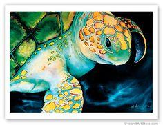 Hawaiian Art Poster Print Green Turtle Hawaii Maui Oahu   eBay