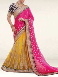Give a unique sheen to your overall appearance like beauty with this pin and yellow shade georgette and chiffon wedding lehenga saree. This wedding lehenga saree featuring embroidery work, lace and patch border work. Which make it more attractive. it's perfect for bridal, party and wedding.