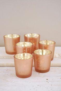 rose gold bouquet libbey glasses | Votive Holders Rose Gold (Set of 6)