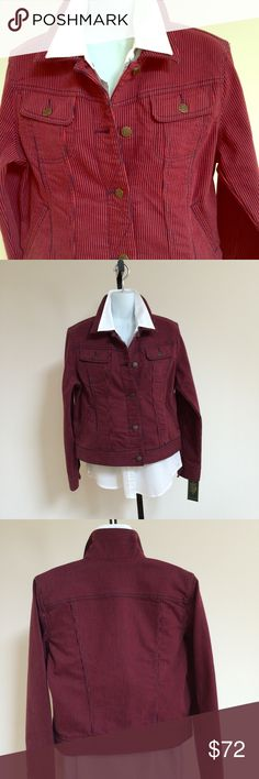 """RL LAUREN JEANS CO. Darling navy and red striped denim jacket by Ralph Lauren.  Has two breast pockets with brass buttons and two slash pockets at the hips.  Brass buttons down the front and at cuffs.  Measures 20"""" from pit to pit and is 22"""" long.  Great with a dark wash denim jean 😉.  No PP or trades.  Smoke and pet free home.  Price is Firm 👍 Ralph Lauren Jackets & Coats Jean Jackets"""