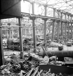 Part of the locomotive shop of the Krupps AG works at Essen Germany seriously damaged by Bomber Command in 1943 and further wrecked in the daylight raid of 11 March Sci Fi Fantasy, Destruction, High Quality Images, Locomotive, It Works, Germany, March, Shopping, Photography