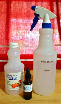 No-rinse Floor Cleaner: - 1 Tbs white vinegar, 3 drops essential oil (any scent, I used tee tree oil), 32 oz hot tap water in a spray bottle (You can also fill up your sink with hot water, add 1/3 cup vinegar and 8-10 drops essential oil.)
