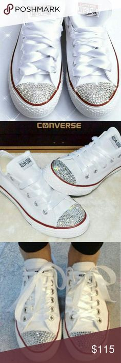 💋Bling All Star Converse Chuck Taylor Sneakers! Blinged out white Chuck Taylor's - ideal for the fashionista known to mix the fun and the flirty.  Rock 'em with those graphic leggings or that shiny track suit for instant glam!  📌Size 7.5. 📌White satin shoelaces included. 📌Ask for further color and size details.  Available upon request. Converse Shoes Sneakers