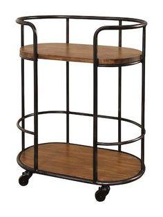 Belinda Industrial Oval Bar Cart by Abbyson | natural | Gilt