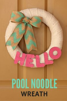 Ideas Garden Ideas Cheap Kids Pool Noodles For 2019 Pool Noodle Christmas Wreath, Pool Noodle Wreath, Christmas Ornament Wreath, Pool Noodle Games, Pool Noodle Crafts, Pool Noodles, Wreath Crafts, Diy Wreath, Wreath Ideas