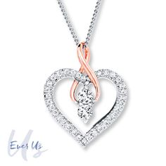 Ever Us Heart Necklace 1/2 ct tw Diamonds 14K 2-Tone Gold